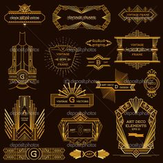 Art Deco Vintage Frames and Design Elements - in vector - Stock Illustration: 48841965