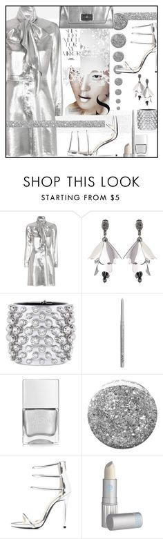 """Very Metallic"" by sweet-designs ❤ liked on Polyvore featuring Silver Lining, Yves Saint Laurent, Oscar de la Renta, Tom Ford, NYX, Nails Inc., Burberry, Qupid, Lipstick Queen and Diane Von Furstenberg"
