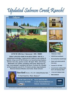 New Listing! Real Estate for Sale: $389,000-3 Bd/2 Ba Updated One Level Salmon Creek Ranch Style  Home on large .2 Acre Fenced Lot at: 12719 NE 10th Ave, Vancouver, Clark County, WA! Area 43. Listing Broker: Diane Barile (360) 798-4921, Coldwell Banker Bain, Vancouver, WA! #realestate #justlisted #vancouverrealestate #salmoncreekrealestate #northfelidarealestate #ranchstylehome #ranch #largelot #fenced #updated #onelevelhome #threebedroomrealestate #dianebarile #coldwellbankerbain