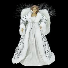16 elegant winter white and silver angel sequin christmas tree topper 60dls in - Christmas Angels For Sale