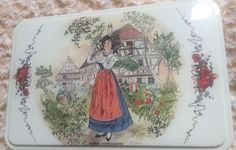 VINTAGE FRENCH MASSILLY BISCUIT TIN PAINTING FRENCH DANCING PEOPLE THEME.