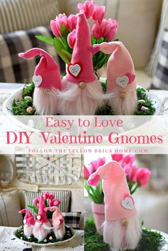 Check out this tutorial for DIY Valentine Gnomes! With simple craft materials yo… Check out this tutorial for DIY Valentine Gnomes! With simple craft materials you can make some easy to love Valentine gnomes in no time! Valentines Bricolage, Easy Valentine Crafts, Love Valentines, Valentine Gifts, Holiday Crafts, Valentine Ideas, Printable Valentine, Homemade Valentines, Valentine Wreath