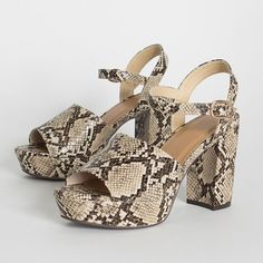 Reptile Scales, Chunky Heels, Vegan Leather, Block Heels, Open Toe, Ankle Strap, Platform, Beige, Animal