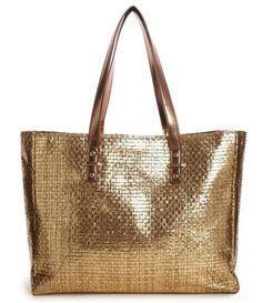 Metallic Gold Beach Bag