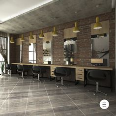 Do your cabinetry like this. Barber Shop Interior, Barber Shop Decor, Hair Salon Interior, Salon Interior Design, Beauty Salon Decor, Beauty Salon Design, Salon Styling Stations, Hair Salon Stations, Schönheitssalon Design