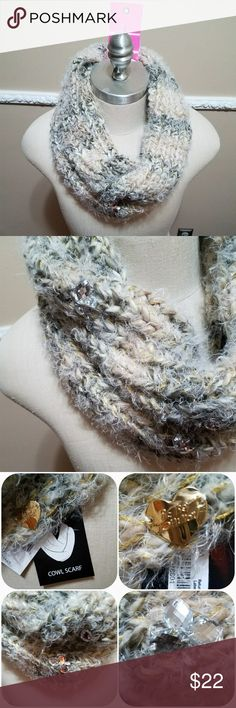 "Betsey Johnson Gem Session Snood Betsey Johnson Fuzzy Ifinity Scarf. Nice Large Gems & Gold Heart adorn this scarf. Nice mixture of colors. Also available in blk/white. See pic in closet.  Measurements are only approximate. 13"" long. Betsey Johnson Accessories Scarves & Wraps"