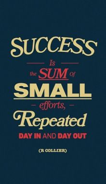 Success is the sum of small efforts repeated day in and day out. Inspirational Quotes