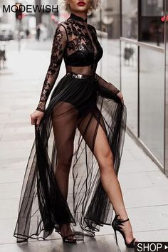 Sexy See-through Long Sleeve Lace Evening Maxi Dress Night Gown Dress, Women's Evening Dresses, Gala Dresses, Party Dress, Party Gowns Online, See Through Dress, Beautiful Dresses, Lace Dress, Fashion Dresses