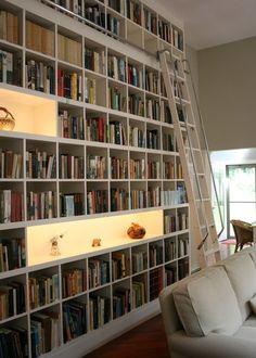 Library ladder for bookshelf wall