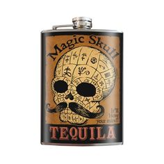 SALE: limited time Magic Skull Tequila- Zombie Mustache Goth Pornstache - Stainless Steel Flask - comes in a GIFT BOX - by Trixi