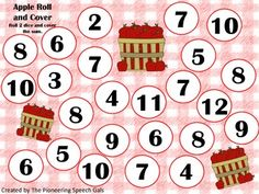 Apple Roll and Cover {An open ended activity}   - Use a 12 sided dice for a number game