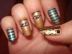 Ancient Egyptian~!!!! My daughter loves anything to do with Ancient Egypt and nail art. So these nails are perfect for her.
