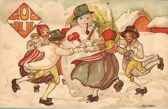 Aina Stenberg a.k.a Aina Stenberg MasOlle (1885-1975) was a Swedish artist. In Sweden her advent calendars were also very popular. Elves (Tomte), fairies, and other folklore are popular subjects within her art.