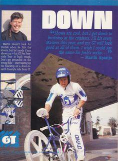 1988 GT freestyle advertisement featuring Martin Aparijo Bmx Bicycle, Bmx Bikes, Gt Bmx, Kickin It Old School, Bmx Street, Bmx Freestyle, Advertising, Ads, Skate Park