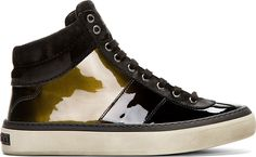 Jimmy Choo - Black Patent Leather Belgravia High-Top Sneakers