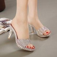 Wish | Hot Sales 2 Colors SIZE 35-39 New Sexy Women Sandals Rhinestone Bow Decorated Ladies Sandal Women Slippers Fashion Shoes