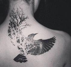 back bird & tree tattoo