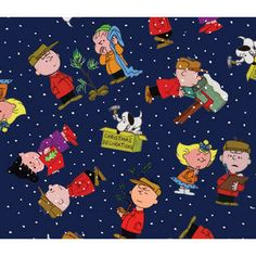 Peanuts Characters on Navy Fabric
