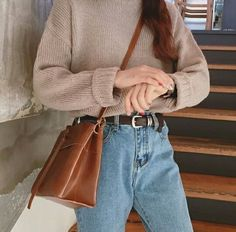 Comfy sweater and mom jeans outfit mom jeans, korean fashion, dress up, k Look Fashion, 90s Fashion, Winter Fashion, Fashion Outfits, Jeans Fashion, Street Fashion, Fashion Mode, Korean Fashion School, Fashion Ideas