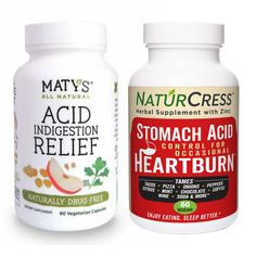 Heartburn can be caused by too little and too much stomach acid. Here's a convenient way to find out which approach works best for you: NaturCress holds acid back the stomach lining. Maty's has apple cider vinegar so it adds acid. A bottle of each in included in this trial bundle. The older you get the more likely acid and by 65 about 30% have low acid. Conduct your own experiment in heartburn protection. How To Relieve Heartburn, Heartburn Symptoms, Natural Heartburn Relief, Acid Indigestion, Stomach Acid, Healthy Environment, Drug Free, Natural Supplements, Cider Vinegar