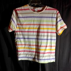 Dress barn Striped Short Sleeve Top 60% cotton 40% polyester comfortable goes with jeans, skirt, or slacks Dress Barn Tops