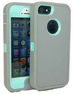 Amazon.com: Iphone 5 Body Armor Case Light Gray on Baby Blue Teal Comparable to Otterbox Defender Series + Bonus Cube Charger and Breast Can...