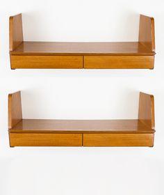 Marcel Gascoin; Oak Wall-Mounted Shelves for Sicam, 1955.