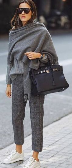 grey scarf pants sneakers