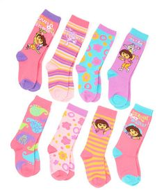 This Pink & Purple Dora the Explorer Knee-High Socks Set is perfect! #zulilyfinds