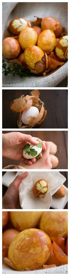 Old World (Natural) Easter Eggs - 3 ways! @NatashasKitchen #Easter #crafts #natural