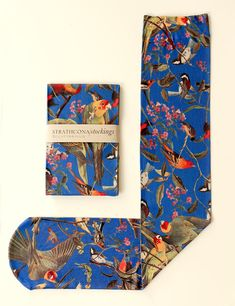 Bird Pattern Hand Printed Stockings in Blue by StrathconaStockings, $36.64
