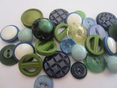 Vintage Buttons - Cottage chic mix of blue and green  lot of 28, celluloid and acrylic, old and sweet( apr 1332 by pillowtalkswf on Etsy