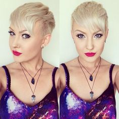 textured platinum blonde pixieIf you want to wear a fringe with your pixie, but are worried about a look that is reminiscent of a bowl cut, it is important to add layers to the top section and get the sides clipped short. These two points create an edgy Mohawk-inspired style, while still providing a length on top