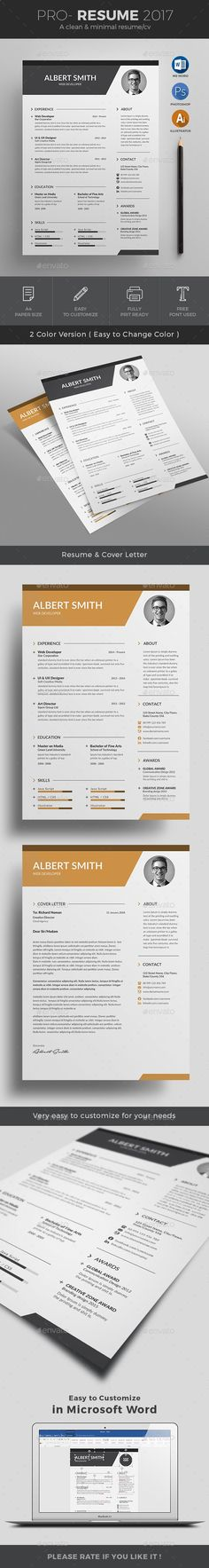 buy resume by on graphicriver pro resume cv 2017 template to help you land that great job the flexible page designs are easy to use and customize