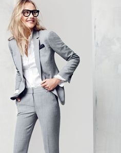 Grey women tailored suit and white classic shirt