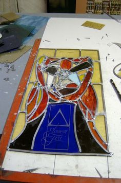 fire element in stained glass