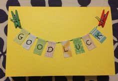 Good luck card Leaving Cards, Good Luck Cards, Made Goods, Card Ideas, Card Making, Greeting Cards, Tags, Craft, How To Make