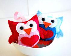 Christmas Ornament Plush ToySet of 2 Felt Owl Plush by Mariapalito, $40.00