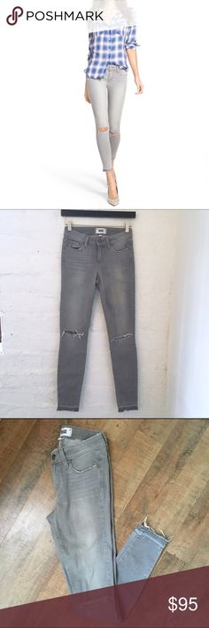 PAIGE Verdugo Ankle Grey Fog Jeans Grey fog wash  Distressed  Five pocket style  Zip fly with button closure  54% Rayon 23% Cotton 22% Polyester 1% Spandex  Rise: 8.5in Inseam:  Size 25    Condition: No stains, tear or wear.   ☑️No Pets  ☑️Non-Smoking home  ☑️Every item steamed throughly before shipped!  💌 Ships from Santa Monica, CA  🗝Follow me on Instagram! @koukil1908 ask to have a video of the item ✌️ Paige Jeans Jeans Skinny