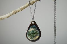 Necklace with Pendant  crystalline glazed ceramic by Willemite