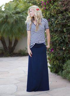 Elle Apparel: navy maxi skirt, striped tee