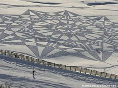 """As Henry David Thoreau once put it, """"This world is but a canvas to our imagination,"""" and an artist named Simon Beck has a unique twist on this idea. Simon Beck, Snow Artist, My Land, Artist Names, Patience, Circles, Imagination, Louvre, Canvas"""