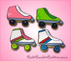 roller skate cookies made using roller skate cookie cutter - $5.99 http://www.cheapcookiecutters.com/collections/frontpage/products/roller-skate-cookie-cutter