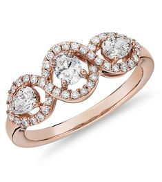 Mixed Fancy Shape Diamond Halo Fashion Ring in Rose Gold by Blue Nile. Pear Diamond, Halo Diamond, Fashion Rings, Fashion Jewelry, Top Engagement Rings, Diamond Ring Settings, Ring Designs, Gemstone Jewelry, Rose Gold