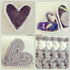 Beautiful heart-shaped boxes from crochetinpaternoster Mandala Rug, Doily Rug, Diy Cat Tent, Cotton Cord, T Shirt Yarn, Chrochet, Learn To Crochet, Beautiful Crochet, Crochet Patterns