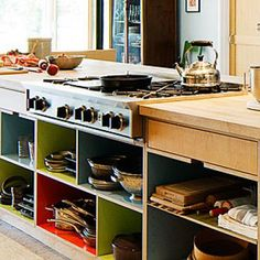 Open cubbies for the kitchen island