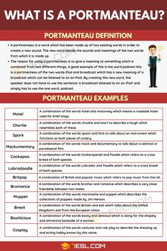 There are many examples of portmanteau in the English language, we see it extremely often, sometimes without even realising it. But what is a portmanteau and ho English Vocabulary Words, Learn English Words, Grammar And Vocabulary, Grammar Lessons, English Grammar, Teaching English, English Language, Italian Language, Korean Language