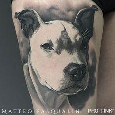 Outstanding #realistictattoo by Pro T-Ink #proteam artist @matteopasqualin  #dogportrait #realisticdog #matteopasqualin #toptattooartists #protink #tattooworkstations #inkpalette #tattoosetup