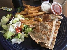 Quesadilla with fries and Greek salad Foodspotting at Beyond Food