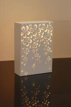 (JPEG Image, 1181 × 1772 pixels) - Scaled Maybe something for Printer Chat? YYZ Needs translating. lamp version of the canvas light Lighted box painted with void spots to glow canvas cut out art No instructions - sculpted steel, inspiration for those who Bedside Lamps Shades, Small Lamp Shades, Table Lamp Shades, Cuadros Diy, Side Table Lamps, Side Tables, Paper Art, Paper Crafts, Paper Toys